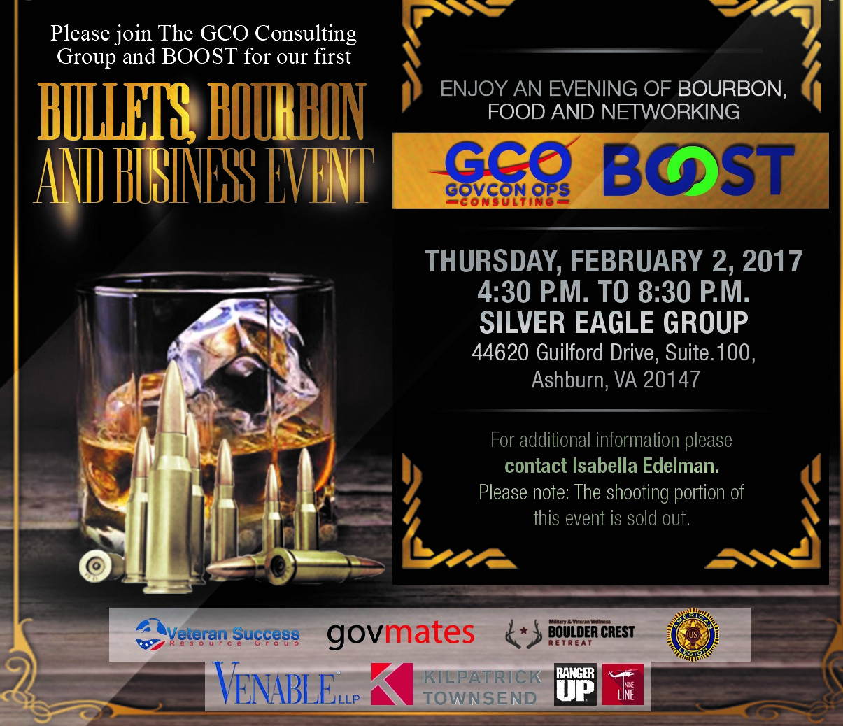 Bullets Bourbon and Business Networking Event